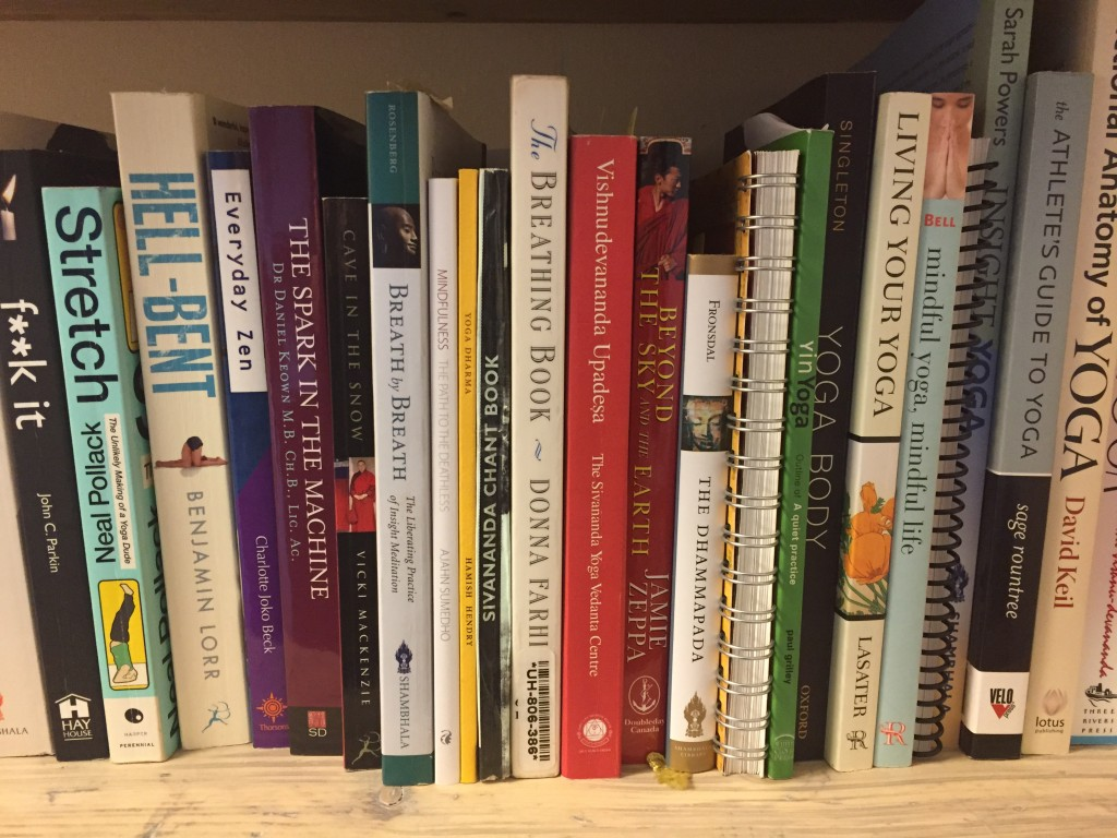 bookshelf yoga books