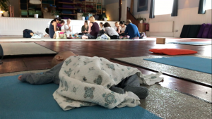 Jacob 'enjoying' a class at The Yoga Hall